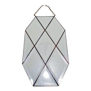 Vintage Doctor's Medicine Caduceus Beveled Camed Glass Sign Suncatcher For Sale