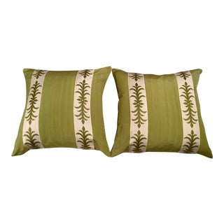 Contemporary Pillow Covers in Clarence House Fabric - A Pair For Sale