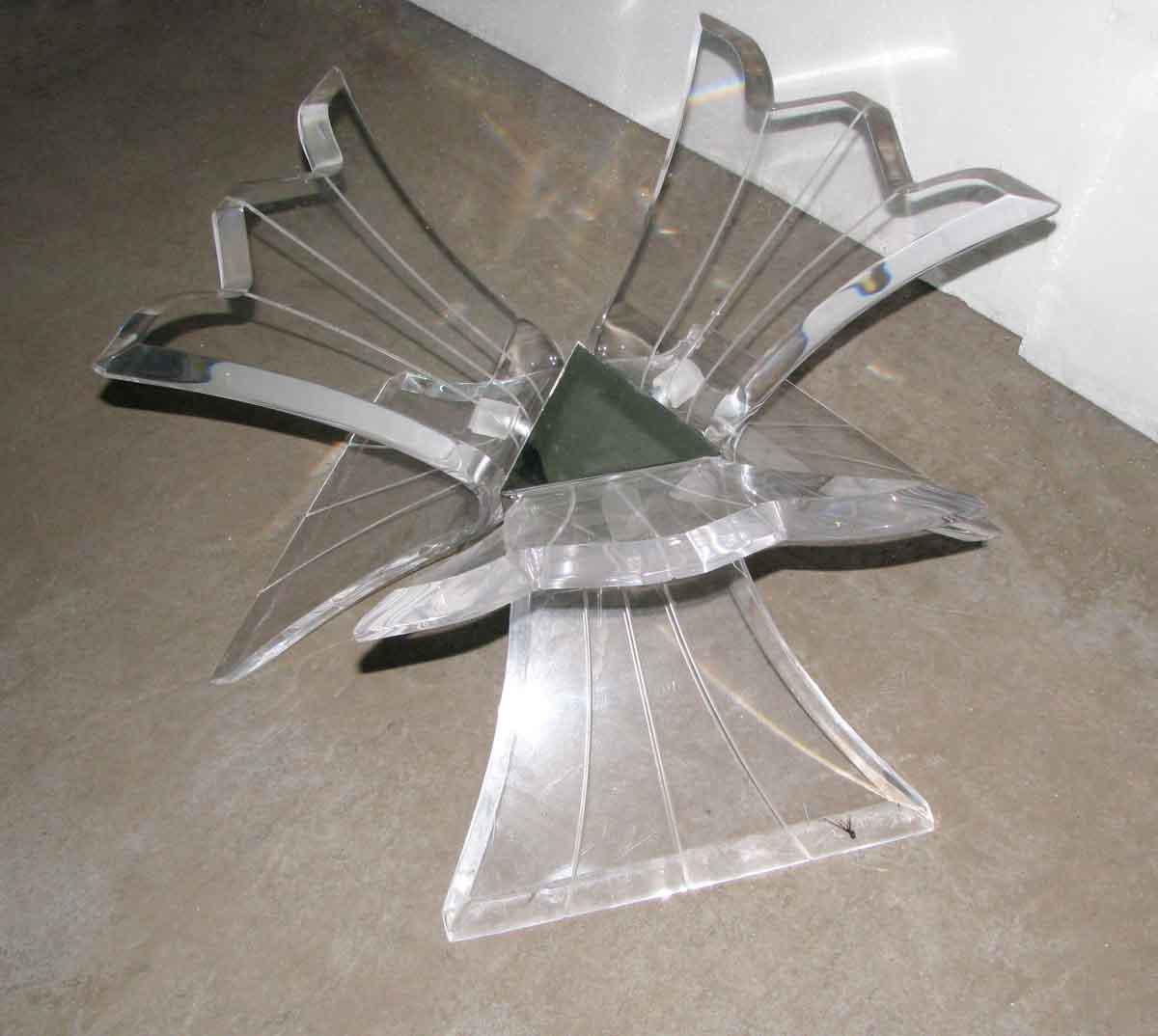 Sculptural 3Arm Lucite Coffee Table Base Chairish