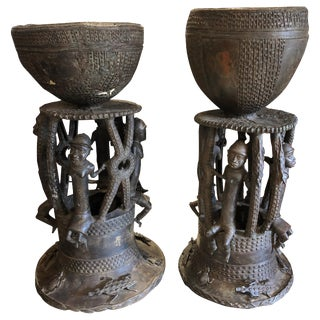 Bamileke Bronze Planters / Urns - a Pair For Sale