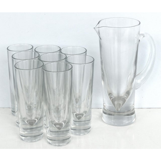 Contemporary Italian Carlo Moretti Weighted Pitcher & Glasses - Set of 9 For Sale - Image 3 of 8
