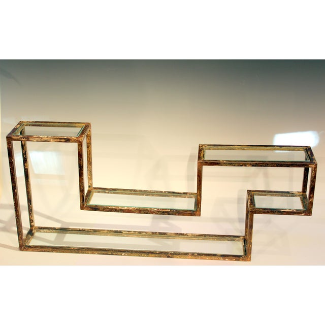 1960s Mid-Century Modern Display Shelf Glass Steel Case Tabletop Curio Gilt For Sale - Image 12 of 12