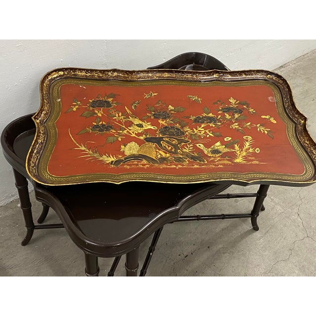 Paint 19th Century Papier Mache English Chinoiserie Tray Table For Sale - Image 7 of 9