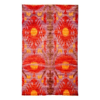 "Red Ikat Hand-Knotted Rug - 4'7"" x 7'3"" For Sale"