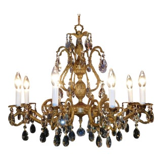 8 Lite Huge Pineapple Cut Lead Crystal Brass Bronze Chandelier