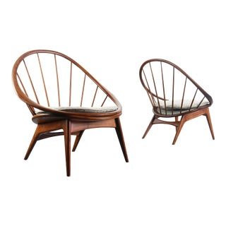 Ib Kofod-Larsen for Selig Hoop Chairs - A Pair of Two (2) For Sale