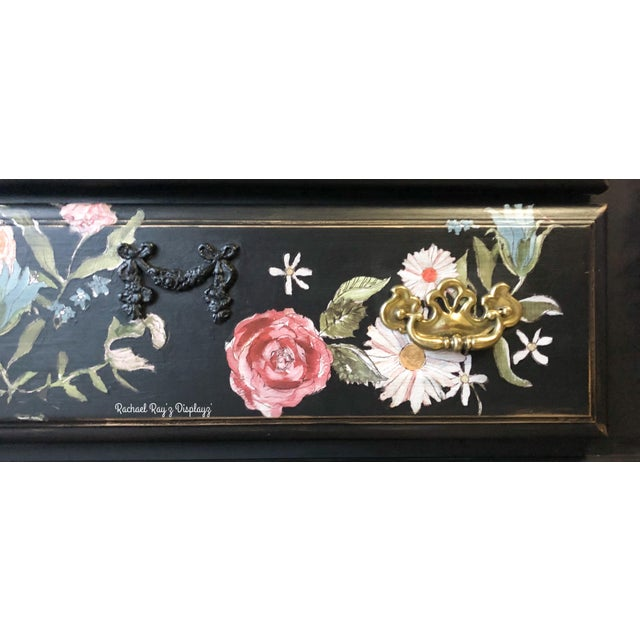 Tall Midnight Floral Storage Dresser Chest With Pinstriped Siding and Faux Marbleized Top For Sale In Charleston - Image 6 of 12