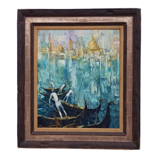 "1960s Vintage George Russin ""Venice"" Oil Palette Painting For Sale"
