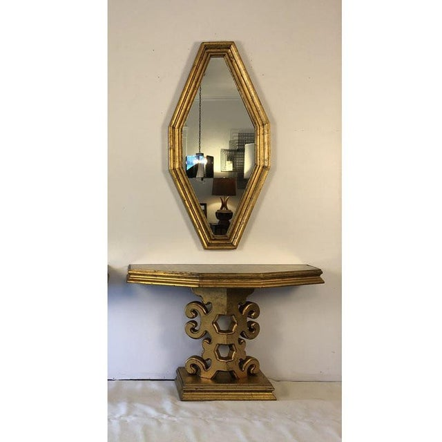 1950s Hollywood Regency Gold Console and Mirror For Sale - Image 13 of 13
