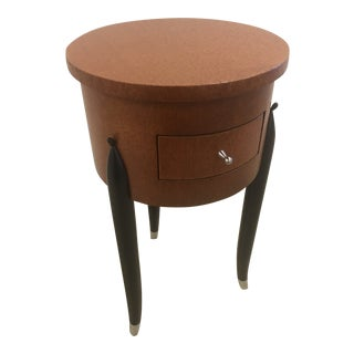 French Vide Poche Side Table in Lacewood With Drawer For Sale