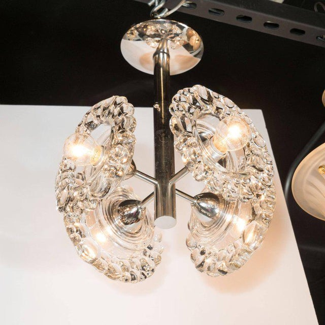 J.T. Kalmar Mid-Century Modern Chrome Chandelier with Abstracted Floral Shades, J.T. Kalmar For Sale - Image 4 of 7