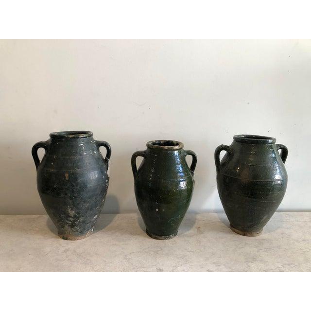 Early 20th Century Vintage Dark Glaze Olive Jars - Set of 3 For Sale - Image 13 of 13