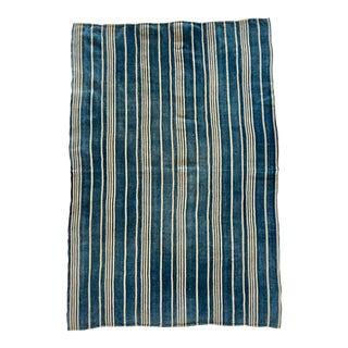 Mali Indigo Stripe Textile Throw For Sale