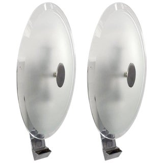Mid Century Chrome and Glass Sconces by Cristal Art - a Pair For Sale