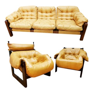 Mid Century Modern Brazilian Percival Lafer Sofa and Two Lounge Chairs- 3 Piece Set For Sale