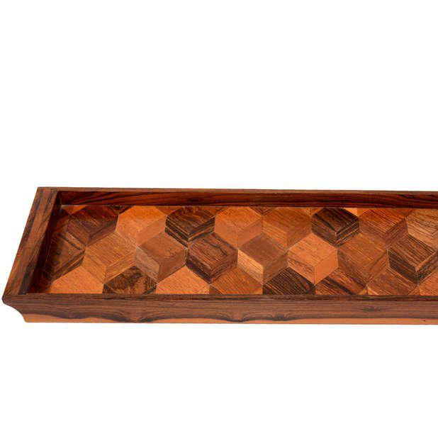 Don Shoemaker service tray with tropical exotic woods.
