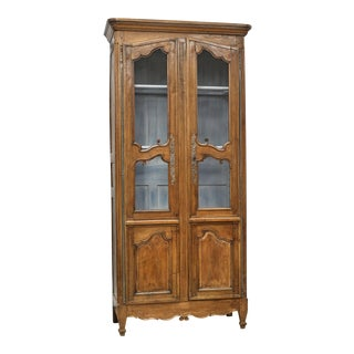 Antique French Provincial Tall & Narrow Bookcase Cabinet For Sale