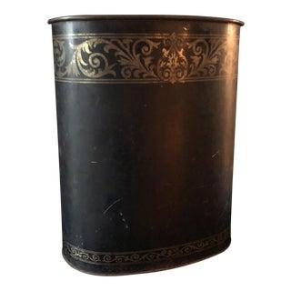 Tole Black & Gold Acanthus Wastebasket