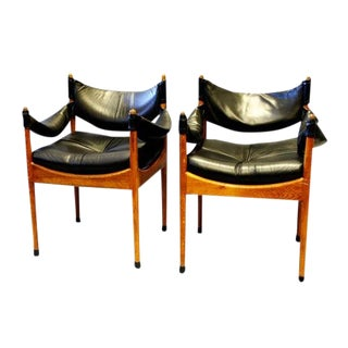 Pair of Leather Danish Chairs by Kristian Vedel For Sale