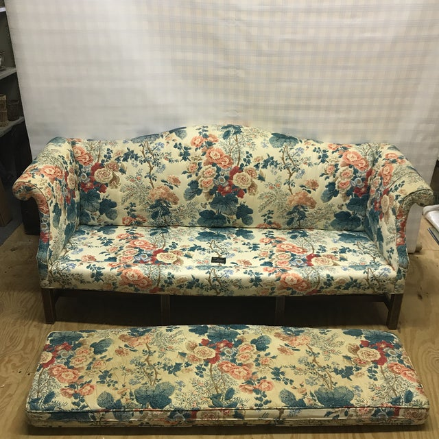 1990s Hollyhock Chintz Camelback Sofa For Sale - Image 5 of 11
