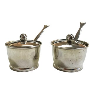 Silver Salt Cellars With Lids, Spoons, and Cut Glass Inserts- a Pair For Sale