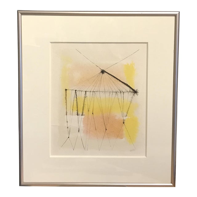 1960s Anita Simpson Watercolor and Ink Abstract - Image 1 of 9