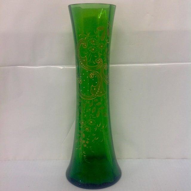 Signed Moser Fluted & Gilt Green Glass Vase - Image 2 of 4