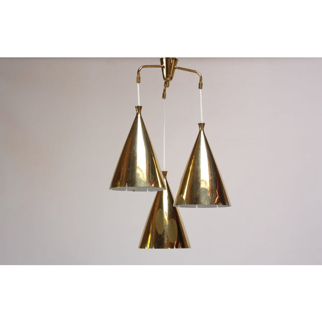 Mid-Century Three Pendant Solid Brass Chandelier after Paavo Tynell - Image 11 of 11