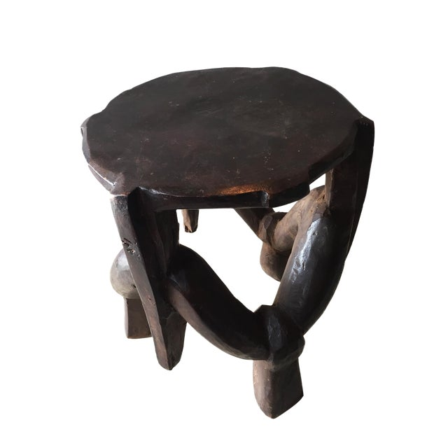 Carved Wooden Makonde Three-Legged Stool From Tanzania For Sale