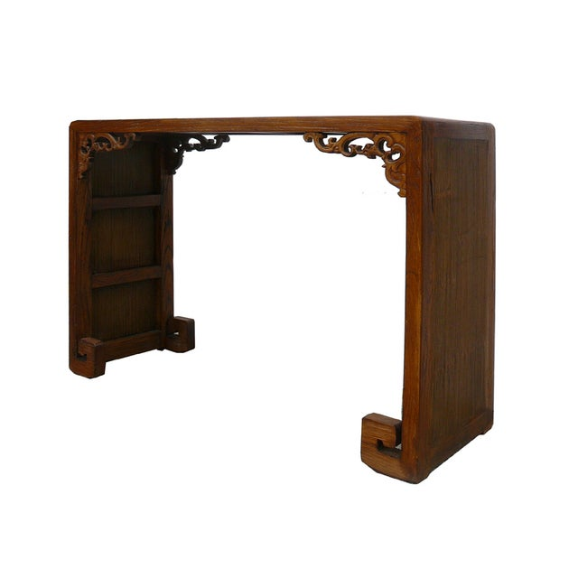Chinese Elm Wood Bamboo Scroll Console Table - Image 3 of 5