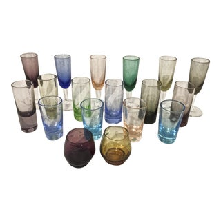 Vintage Multicolored Aperitif Glasses - Collection of 18 For Sale