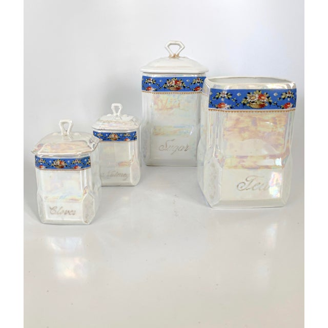 Art Nouveau Victoria Czech Slovakia Luster Ware Canisters Jars Iridescent Set For Sale - Image 13 of 13