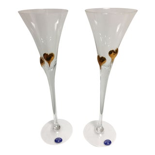Bohemia Crystal Champagne Heart Flutes - A Pair For Sale