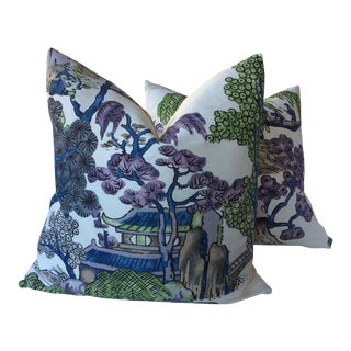"Thibaut ""Asian Scenic"" Blue and Purple Pillow Covers - A Pair For Sale"