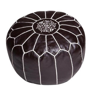 Modern Moroccan Black and White Pouf For Sale