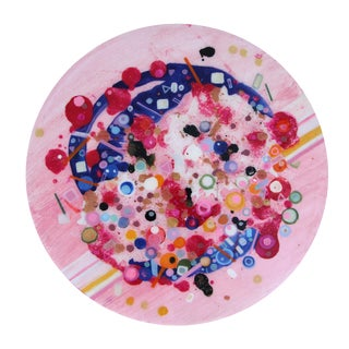 Final Mark-Down Pink Contemporary Circular Painting by Natasha Mistry For Sale