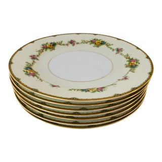 "1940's Elegant Floral Fine Noritake China ""m"" Dinner Plates S/7 For Sale"