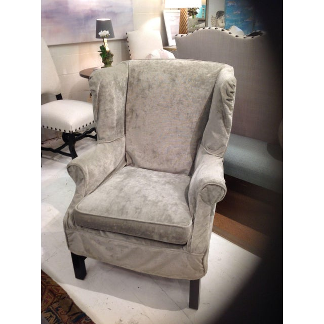 Gorgeous velvet washable slipcover wing chair made by Lee Industries. Fabric is Laser Sage, a grade NN (one of their...