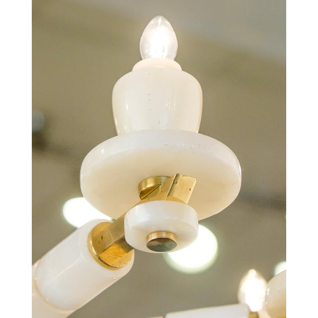 Onyx Brass Eight Arm Chandelier For Sale - Image 4 of 11