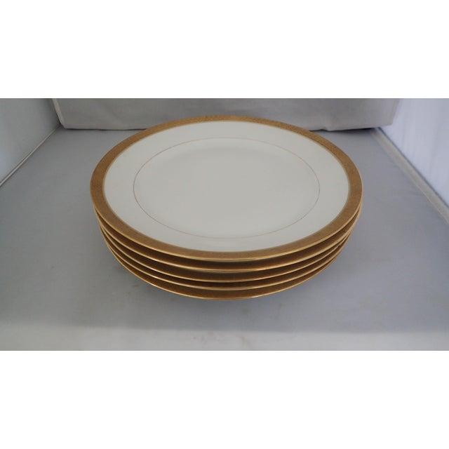 Elegant Gold Rim Dinner Plates S/5 - Image 2 of 7