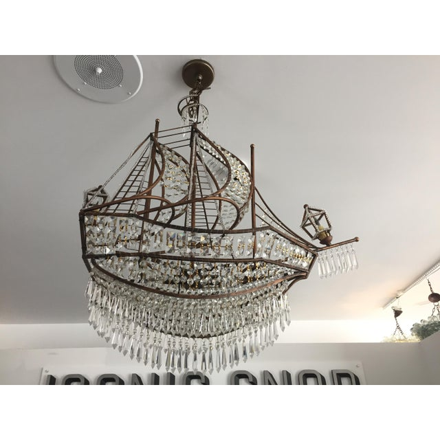 Spanish Galleon Ship Crystal Chandelier, Italy 1990s For Sale - Image 13 of 13