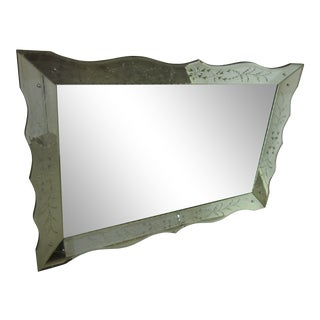 1940s Large Hollywood Regency Mirror With Etching For Sale