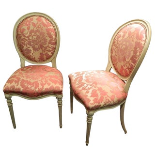 Pair of Louis XVI Style Painted Side Chairs, Early 20th Century For Sale