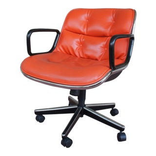 2001 Knoll Orange Leather Pollock Executive Chair For Sale