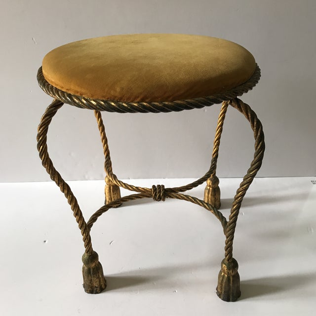 Vintage original Italian gilt rope and tassel stool made for Edward P. Paul and Co. Has original golden mustard mohair...