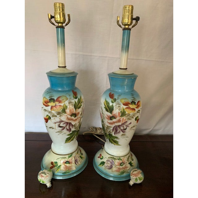 Glass 1940s Vintage Hand-Painted Botanical Decorated Lamps - a Pair For Sale - Image 7 of 7