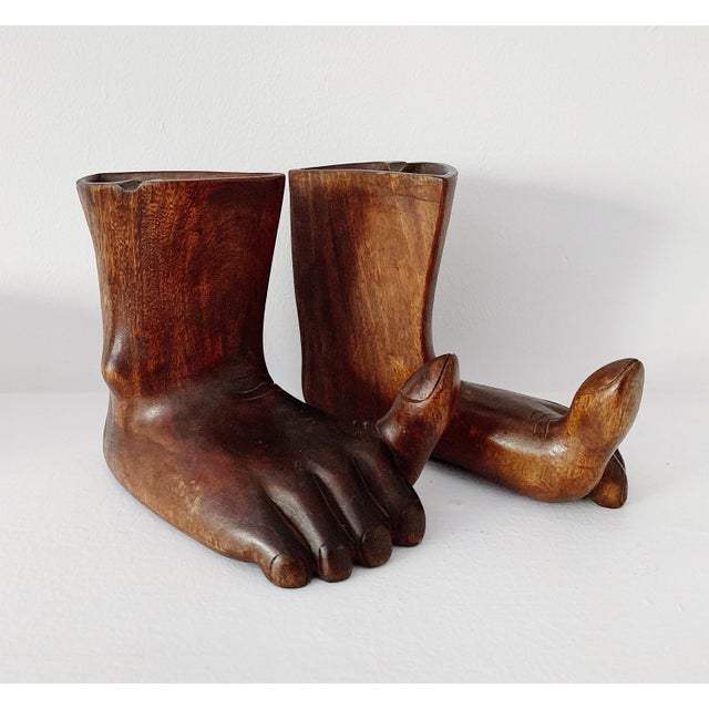 1960s 1960s Vintage Hand Carved Wooden Feet Sculpture - 2 Pieces For Sale - Image 5 of 9