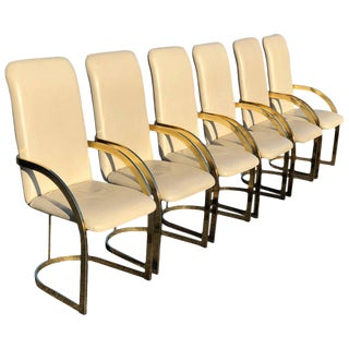 Milo Baughman Style Brass & Leather Chairs - Set of 6