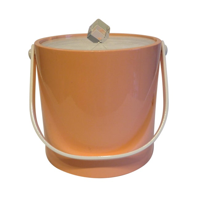 Peach And Lucite Ice Bucket - Image 1 of 5