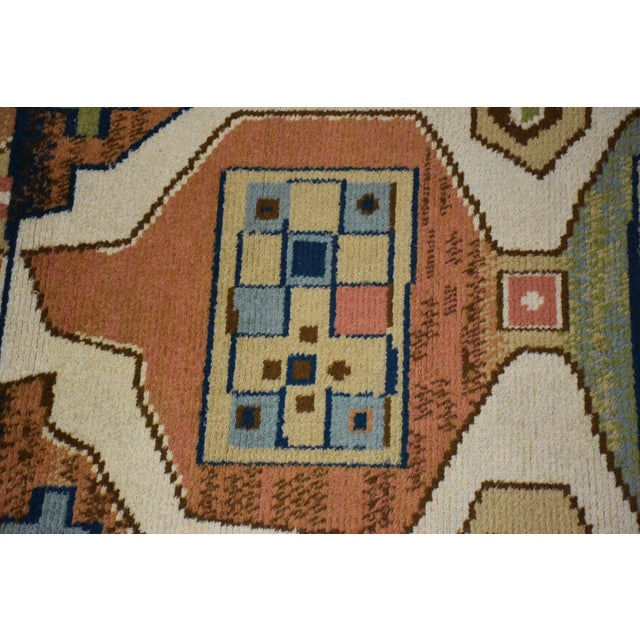 "Blue Ege Axminster Abstract Danish Rug 79"" X 54"" For Sale - Image 8 of 12"